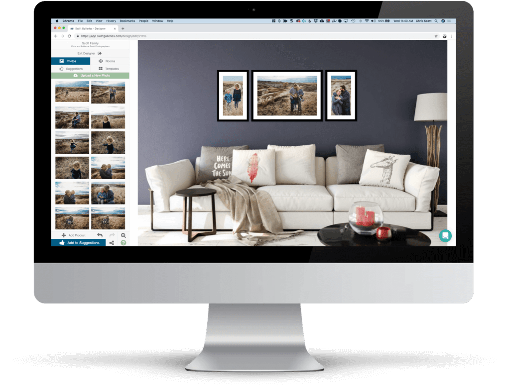 Swift Galleries for photographers on a desktop computer