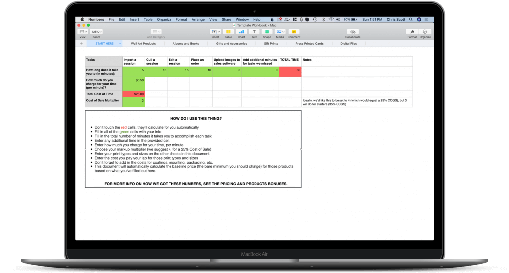 Mockup of The Printmaker System's product pricing calculator on an image of a macbook pro