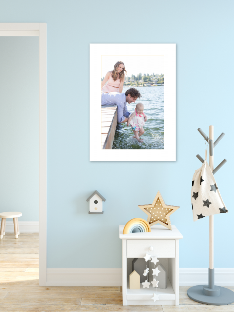 Framed Gallery Wall Design In Blue Kids Room
