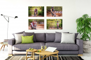 Gallery wall in modern living room of family portraits near lake and waterfall